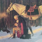 George Washington kneeling in prayer at Valley Forge. Washington prayed daily and kept a prayer journal when he was younger
