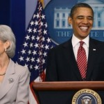 Obama and HHS Secretary Katheleen Sebelius