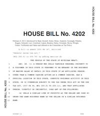 Michigan H.B. 4202 Main Street Fairness; A bill to amend the General Sales Tax Act