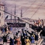 The Destruction of Tea at Boston Harbor by Nathaniel Currier, 1846