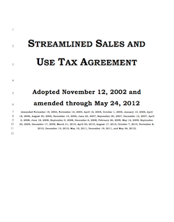 Snapshot of cover page of the Streamlined Sales and Use Tax Agreement as of May 2012 - click to view SSUTA