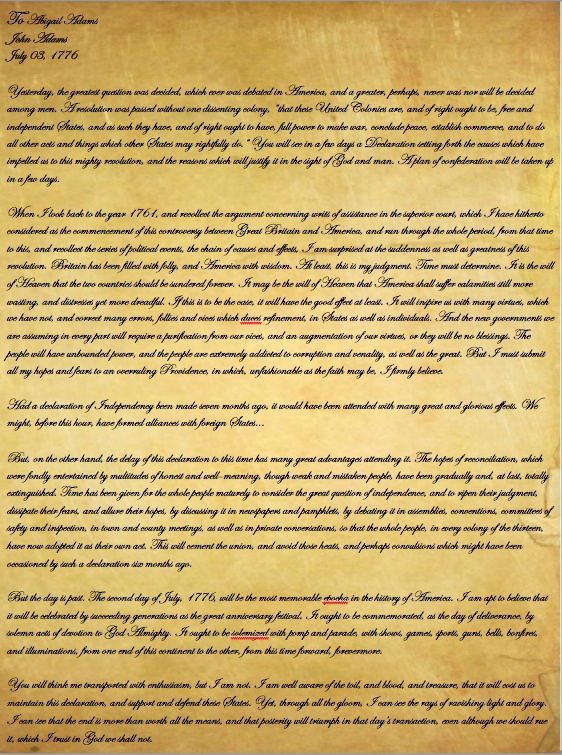 abigail adams letter to john adams beautiful abigail letter to cover 6123
